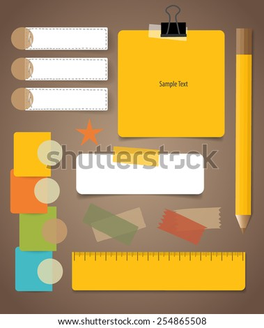 Cute note papers, Business working elements for web design , mobile applications, social networks. - stock vector