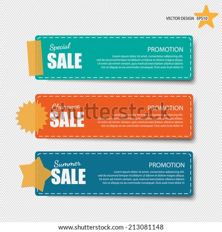 Cute note papers with sale promotion. - stock vector