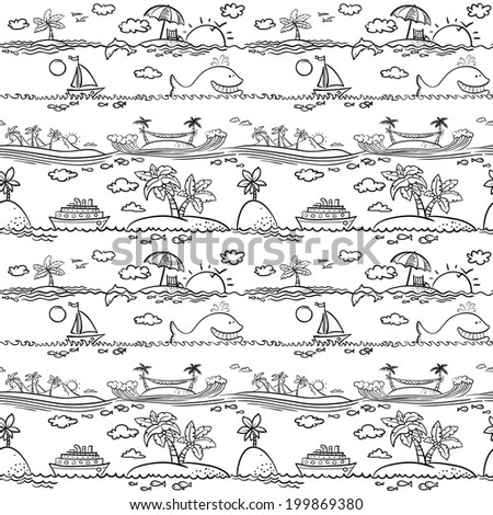 Cute ocean beach seamless pattern - stock vector