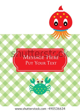 cute octopus and crab merry christmas message card