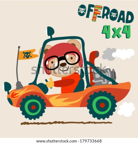 Cute off road vehicle with a typography - stock vector