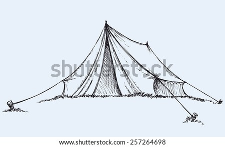 Cute old temporal nylon bivvy stretched a rope tied to wooden peg in grass. Vector monochrome freehand ink drawn background sketchy in art scribble antiquity style pen on paper with space for text - stock vector