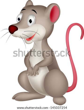Cute Opossum cartoon - stock vector