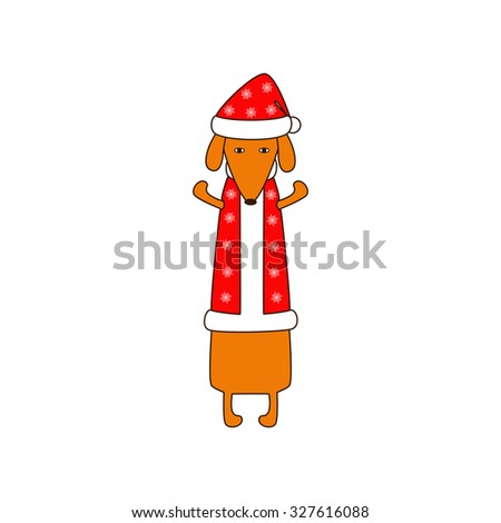 Cute orange colored brown contoured dachshund standing on hind legs with dissolved forelegs in Christmas suit, red coat and hat decorated with snowflakes. Vector flat style illustration - stock vector