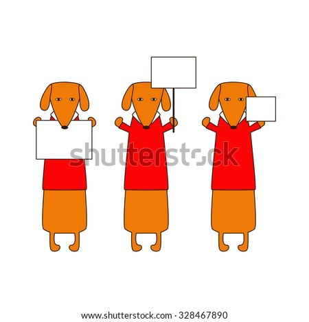 Cute orange colored brown contoured dachshunds in red sweaters with white collar standing on hind legs with dissolved forelegs, holding blank nameplates in paws. Vector flat style illustration - stock vector