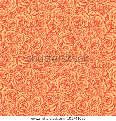 Cute orange floral seamless pattern background - stock vector
