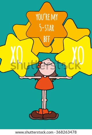 Cute original friendship card of a happy smiling girl in an orange dress holding five big yellow stars. Text about 5-star friendship. Stock vector illustration. Hand drawn. - stock vector