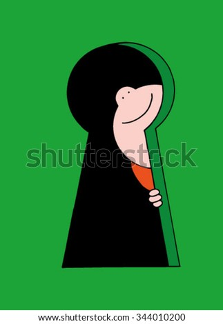 Cute original hand drawn stock vector illustration of happy smiling curious  boy looking through a keyhole..  - stock vector