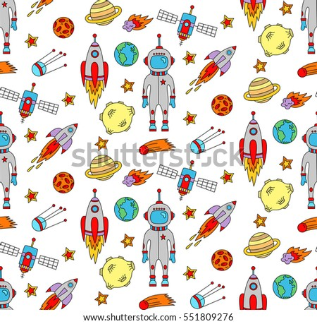 Cute Outer Space Symbols Doodles Seamless Stock Vector 551809276