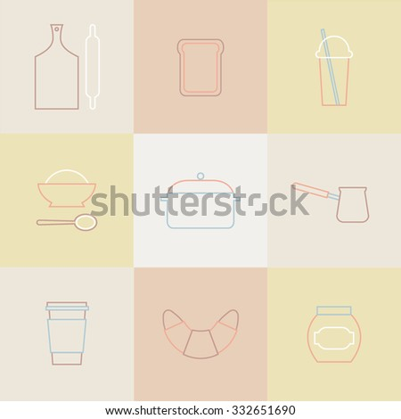 Cute outline kitchen icons. Templates for web. Graphic design. Signs and symbols. Set of kitchen utensils. Restaurant logos. - stock vector