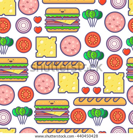 Cute outline vector seamless pattern with tomato, onion, spinach, bread, sausage, cheese, sandwich and hearts. Funny simple colorful background. Summer recipe for healthy breakfast. Outline icons.
