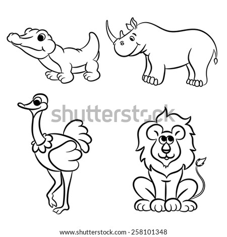 Cute outlined zoo animals collection. Vector illustration. - stock vector