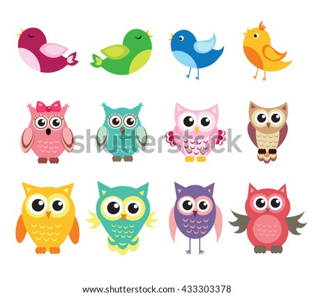 cute owl and birds set of vector illustration - stock vector