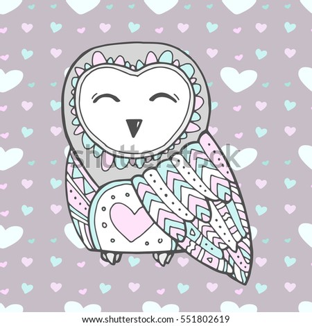 Cute owl bird seamless heart pattern stock vector 551802619 cute owl bird seamless heart pattern vector love bohemia concept for wedding invitation stopboris Choice Image