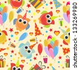 cute owl birthday seamless pattern - stock vector
