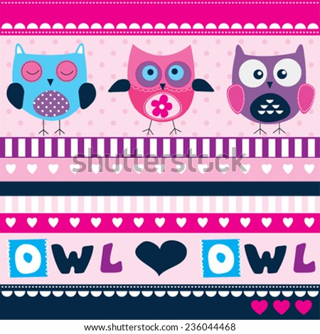 cute owl card vector illustration - stock vector