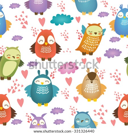 Cute owl characters. Vector illustration. seamless pattern.