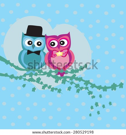 Cute owl couple in love  - stock vector