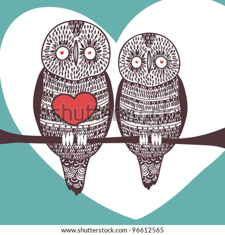 cute owl couple in love on tree branch with big heart - stock vector