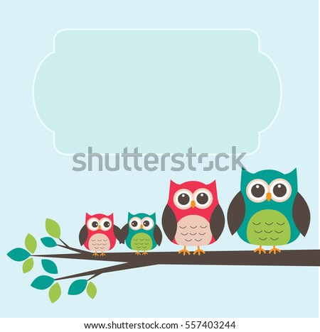 Cute owl family with place for text. Vector illustration