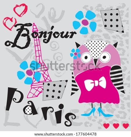 cute owl in Paris vector illustration - stock vector
