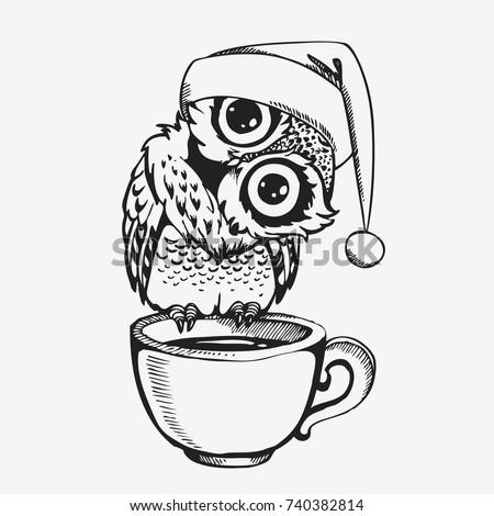 Cute christmas owl cup coffee hand stock vector 719023906 for Cartoon owl sketch