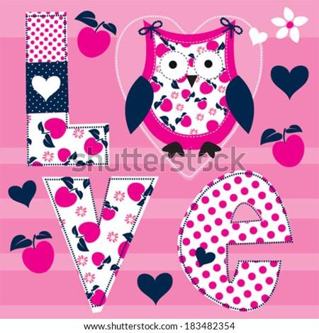 cute owl love card with apple vector illustration - stock vector