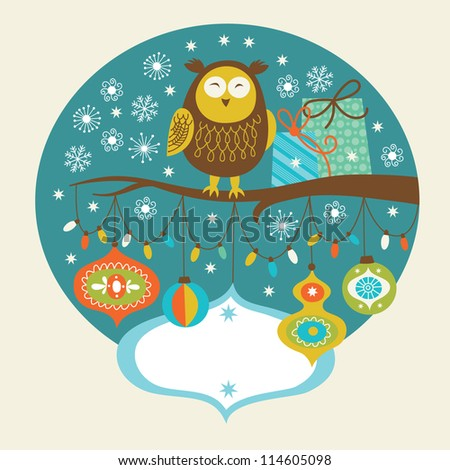 Cute owl on the branch, Greeting card - stock vector