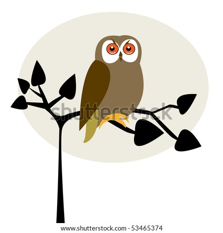 Cute owl on the tree stock vector