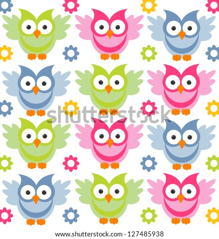 cute owl pattern - stock vector