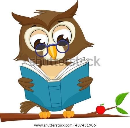 cute owl reading book on tree stock vector 437431906 shutterstock rh shutterstock com Chalenge Class Clip Art Book Border Clip Art