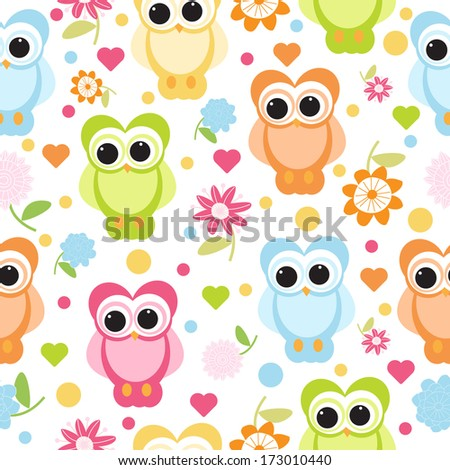 cute owl seamless - stock vector