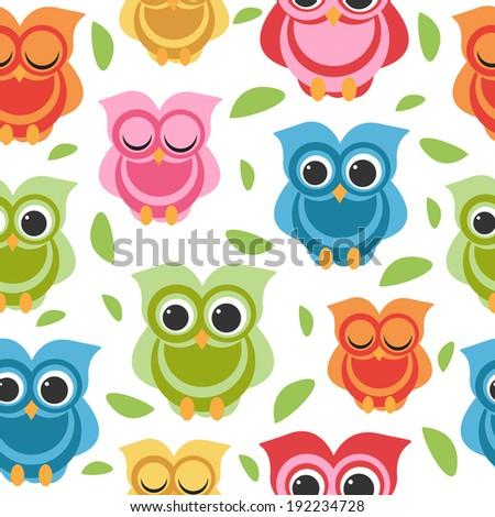 cute owl seamless  - stock vector
