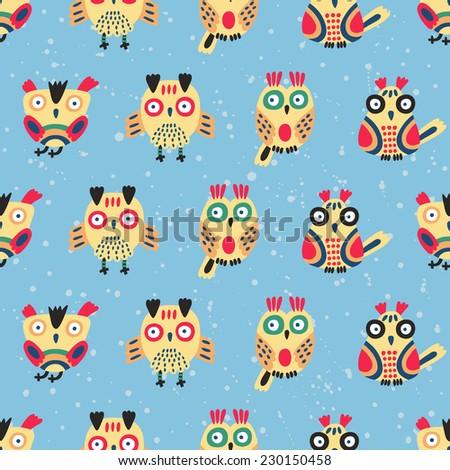 Cute owl seamless pattern. Vector illustration.  - stock vector