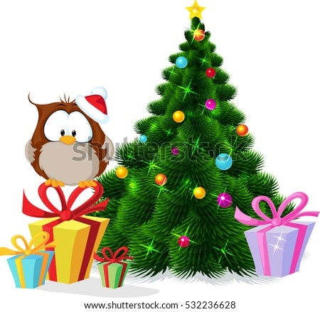 cute owl sitting by xmas tree - vector illustration