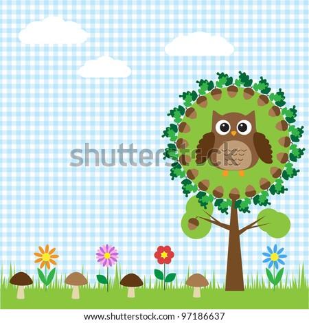 Cute owl sitting on oak - stock vector
