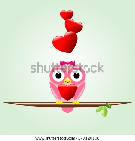 Cute owl sitting on the tree branch and holding a big heart in wings. - stock vector
