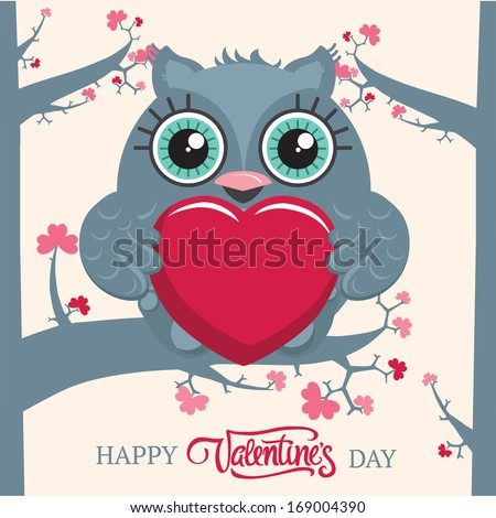 Cute owl sitting on the tree branch and holding a big heart in wings. Valentine's day postcard. Vector illustration.