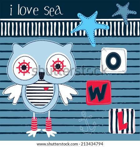 cute owl skipper striped background vector illustration - stock vector