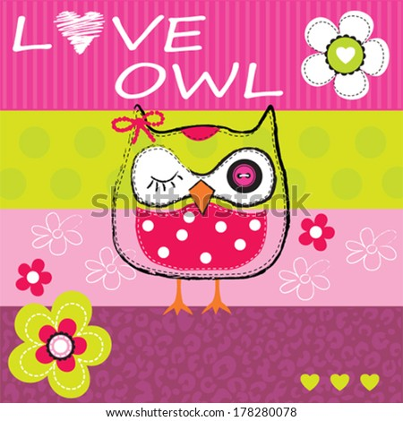 cute owl  striped background vector illustration - stock vector