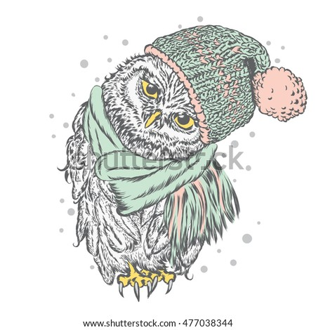 Cute owl wearing a hat and scarf. Vector illustration for greeting card, poster, or print on clothes. Autumn or winter.