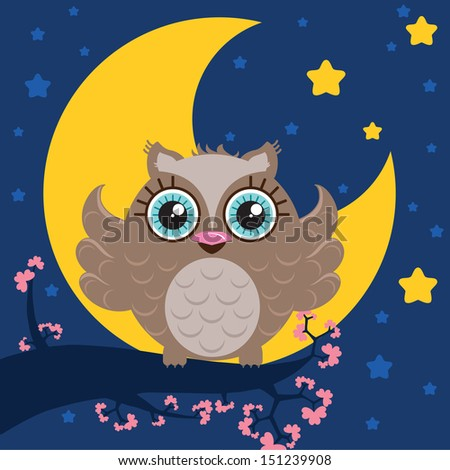 Cute owl with big eyes sitting on the branch full of flowers. Night sky with a big moon and stars. Illustration made in Kawaii style. Vector illustration. - stock vector