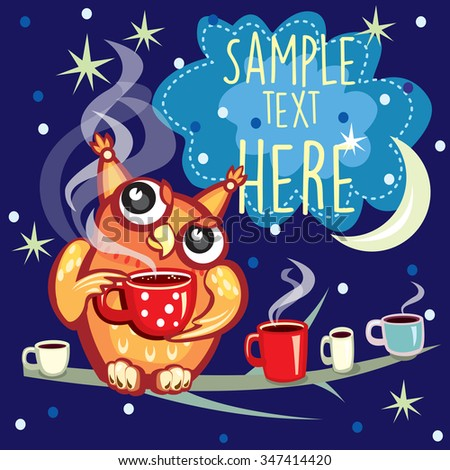 Cute Owl with cup of coffee - stock vector