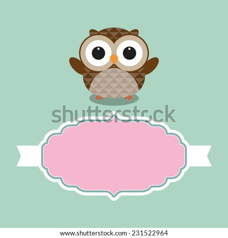 Cute owl with frame for text vector illustration - stock vector