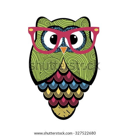 Cute owl with glasses - stock vector