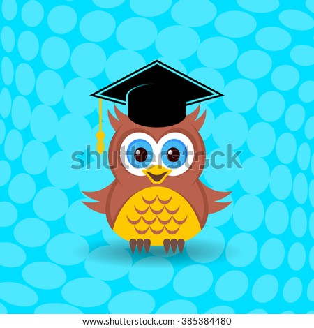 Cute owl with graduation hat on halftone background - stock vector