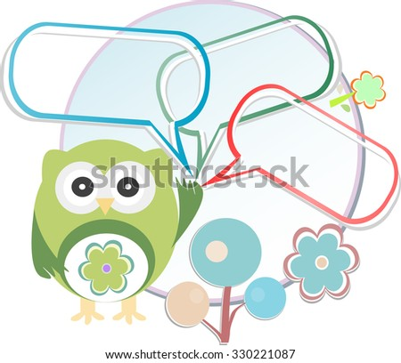 Cute owl with place for your text. Vector illustration