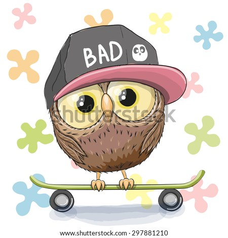 Cute Owl with skateboard on a floral background - stock vector