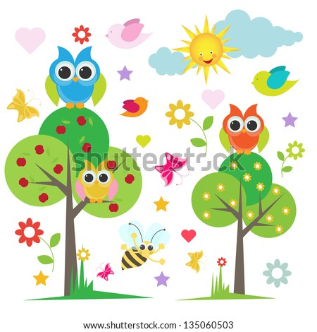 cute owl with trees and and birds