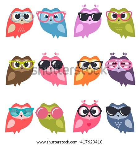 Cute owlets and owls with sunglasses - stock vector